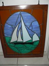 Stained Glass Leaded Window Hand Made Frame Sail Boat