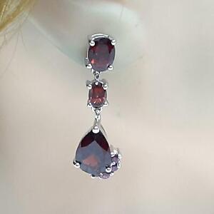 World Class 11.30ctw Garnet & Amethyst 925 Sterling Silver Dangle Earrings 6.7g