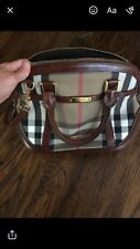 Pre-Owned BURBERRY Bridle House Check Satchel Orchard Bowling Crossbody Brown