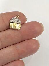 Cute!!! Cupcake Solid 10K Gold & Diamond Pendant/ Charm, New