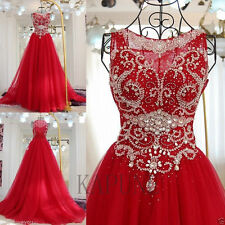 Red Tulle Formal Wedding Evening Dresses Long Cocktail Ball Prom Party Gown