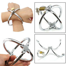 Stainless Steel Cross Handcuffs With Lock Restraint Metal Shackle Slave Game Toy