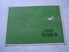 Catalogue publicitaire Fiat 600 D 1960 8 pages brochure prospectus