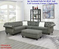 Living Room 4pcs Sectional Sofa Armless Chair Wedge LAF RAF Loveseat Slate Grey