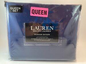 Ralph Lauren DUNHAM SATEEN Solid CADET BLUE 300 TC 4 piece QUEEN SHEET SET - NEW