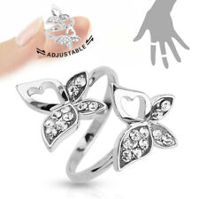 Double Butterfly Multi-Paved CZ Gems Adjustable Mid Ring / Toe Ring