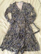 DVF vintage Wrap Dress Silk Knit In Snake Dots (navy/green/oatmeal), Size 4