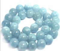 "8mm Natural Aquamarine Round Genuine Gemstone Loose Beads 15"" Strand JL1"