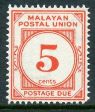 """Unión Postal """"Malaya"""" 1951 franqueo debido 5 centavos bermellón Perf 14 estampillada sin montar o nunca montada SGD18"""