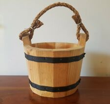 "NEW! 6x8"" Wooden Bucket Water Wishing Well Pail Wood Vtg Style Primitive Planter"