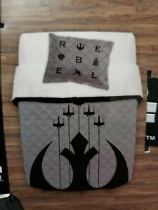 3 pc rebels Star Wars Full/Queen Quilt and Sham Set NIP New 86x90 inches