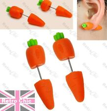 rabbit food Vegetarian Gift eco warrior Quirky Vegi Ear Tunnels earrings Carrot