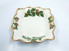 Rosina Yuletide Holly Pine Cones Leaves Square Dish