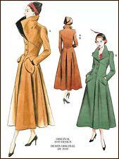 V1669 Sewing Pattern Vtg 1940's Design 1949 Wide Collar Lined Coat Vogue 490