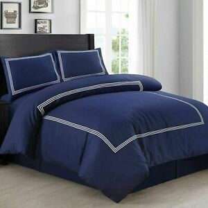 Navy Duvet Quilt Cover Bedding Set With Pillowcase Single Double King Size