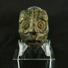 Pre-Columbian Mayan Small Carved Jade Mask of Mayan Sun God ~Perfect Proportions