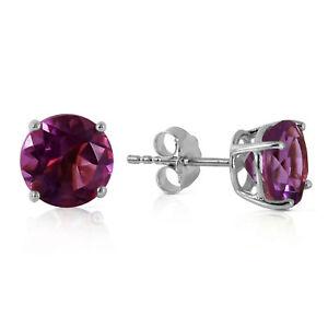 Genuine Amethyst Round Gemstones Studs In 14K White Gold Earrings