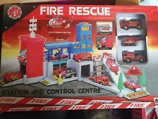 Fire Rescue Station And Control Centre 3 Diecast Vehicles Included NEW