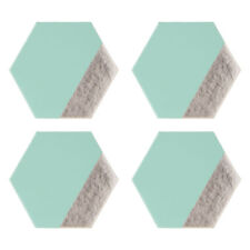 Geome Dipped Hexagonal Coasters Jade & Silver Set of 4 Drink Table Mat Placement