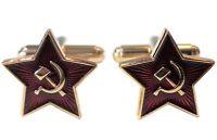USSR Soviet Union Russia Red Star Hammer Sickle Communist 24ct Gold Pl Cufflinks