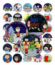 "30 Precut 1"" CHRISTMAS CHARLIE BROWN Bottle Cap Images for Pendant, Hair Bows"