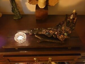 Rustic Trunk Wicca Table Candle Holder With Quartz Crystals