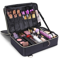 Lifwit 3-Layers Professional Makeup Bag Backpack Train Case with Adjustable Box