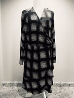 NWT Covington Womens Dress Size 3XL XXXL Black White Wrap Sexy HolidayRuffle $70