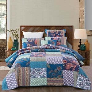 Coverlet Quilt 100% Cotton No Polyester Super King 265cmx285cm Blue Patchwork