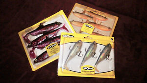 LOT 3 STORM WILDEYE PACKS SOFT PLASTIC RIGGED PADDLETAIL SARDINE ANCHOVY SHAD