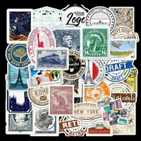 50Pcs Retro Stamp Stickers Skateboard Laptop Luggage Guitar Motorcycle Decals_dr