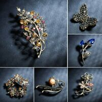 Charm Flower Butterfly Crystal Brooch Pin Women's Wedding Bridal Jewellery Party