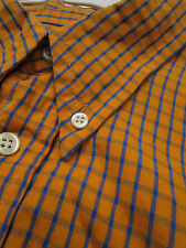 ** Mens Dress Shirt Orange Check Plaid Size (XL) 4 Euro Dickens & Browne London