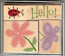 Hero Arts Rubber Stamp Set LL-819 Butterfly Ladybug Fancy Notes S22