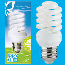 10x 18W Daylight SAD Low Energy CFL 6500K White Light Spiral Bulbs ES E27 Lamps