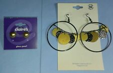 LOT 2 pcs CLAIRE'S STUD NOBLESSE GOLD TONE HOOP JEWELRY DANGLE EARRINGS