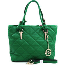 Women's Sophisticated Quilted Satchel Bag w/ Gold Accents & Bonus Strap - Green