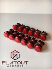 12 x 24mm / 28mm Round 12v LED Arcade Buttons & Microswitches (RED) - MAME