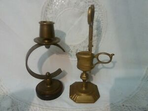 VINTAGE BRASS CANDLE HOLDER SNUFFER CANDLESTICK WICK TRIMMERS CHAMBERSTICK STAND