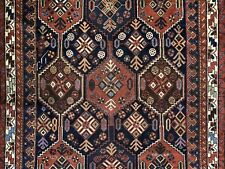 Terrific Tribal - 1940s Antique Oriental Rug - Nomadic Carpet - 4.8 x 6.3 ft.