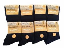 6 Pairs Mens Socks Non Elastic Easy Grip 100% Cotton Comfort Work Socks UK 6-11