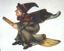 Vintage Lefton Witch on Broom Wall Plaque #1258 1950's Halloween