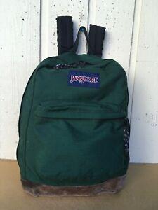 JanSport Leather Bottom Backpack. Green.