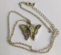 Vintage Abalone Shell Butterfly Rhinestone Head Pendant Chain Necklace
