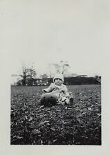 4 Snapshot Photos 1949 IDd - Baby Boy w Jack o Lantern Carved Pumpkin Halloween
