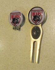 2 only NORTH SYDNEY BEARS  GOLF BALL MARKERS +A NICE  DIVOT TOOL &  HAT CLIP SET