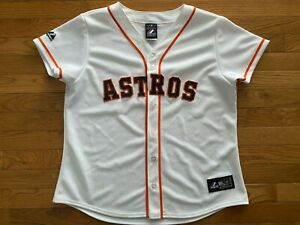 Houston Astros Cream Ladies Baseball MLB Jersey Majestic Womens Sz Large