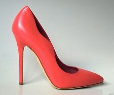 NIB $695 BRIAN ATWOOD 'Besame' CORAL leather scalloped shoes 39 US 8 - super hot