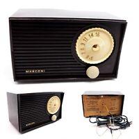 Vintage Tube Radio Canadian Marconi Bakelite Tabletop Mid Century Modern Works