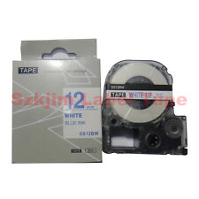 """Compatible Epson Label Tape LC-4WLN Blue on white 12mm 8m 1/2 x 26"""" LW400 LW-300"""